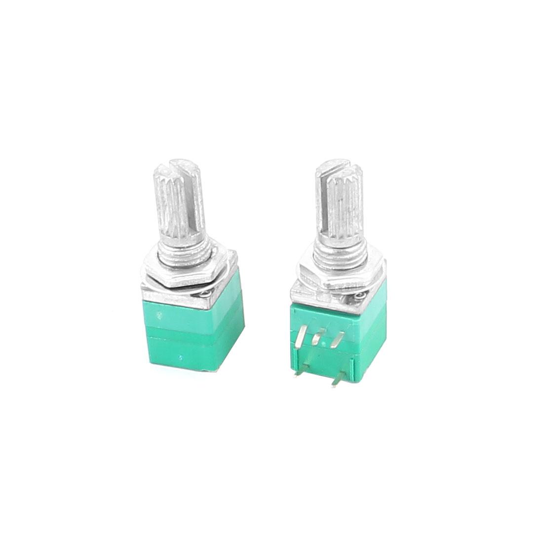 2pcs B50K 50K Ohm 7mm Thread 6mm Knurled Shaft 5Pins Green Adjustable Rotary Potentiometer w Switch