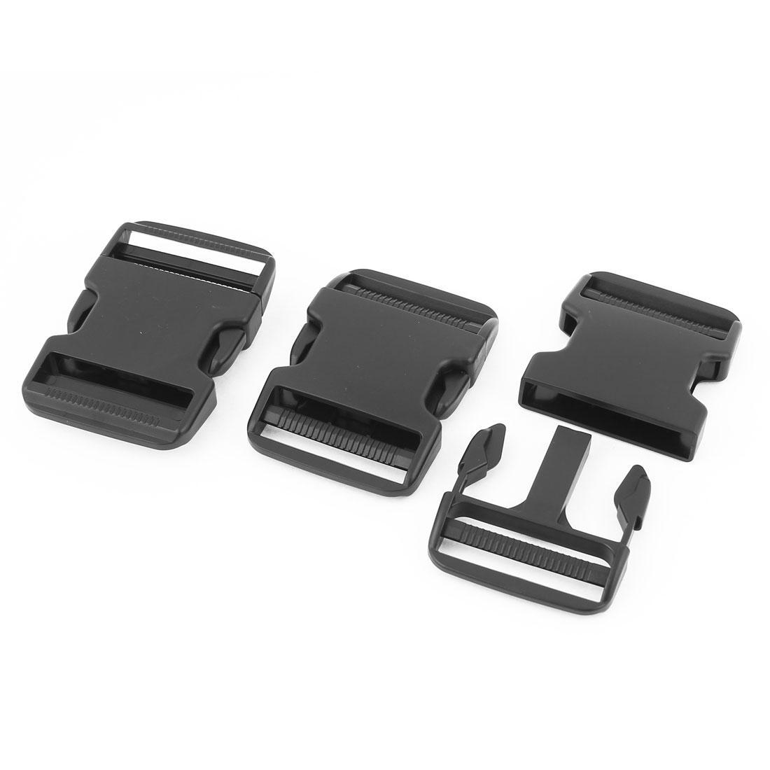 3 Pcs 51mm Width Black Plastic Backpack Rucksack Quick Release Buckle Clip