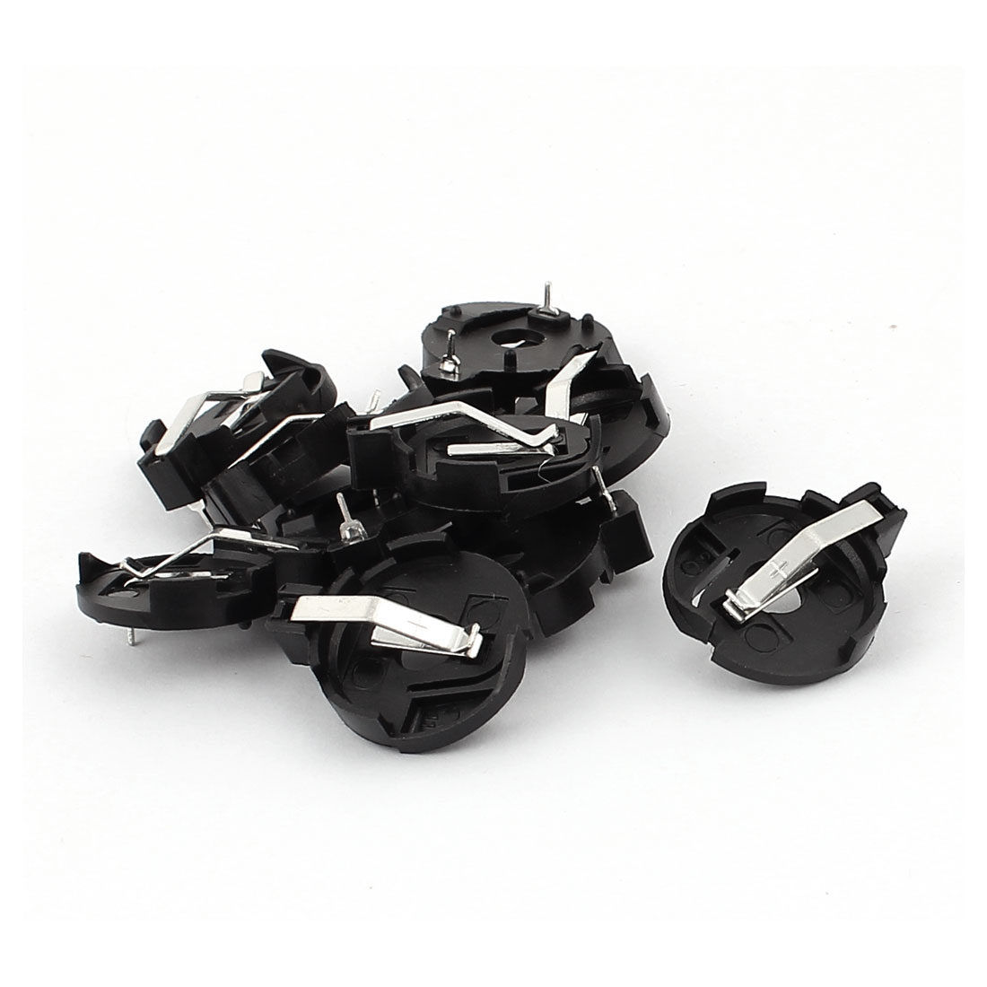 10Pcs Black Plastic Shell Coin Cell Button Battery Holder Socket for CR2016/CR2025/CR2032 Batteries