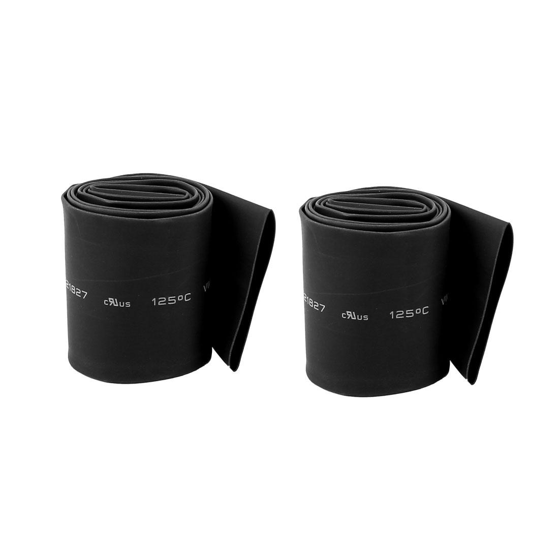 2pcs 3ft 95cm Length 35mm Dia 2:1 Black Polyolefin Insulated Heat Shrink Tubing Shrinkable Tube Wrap Sleeve