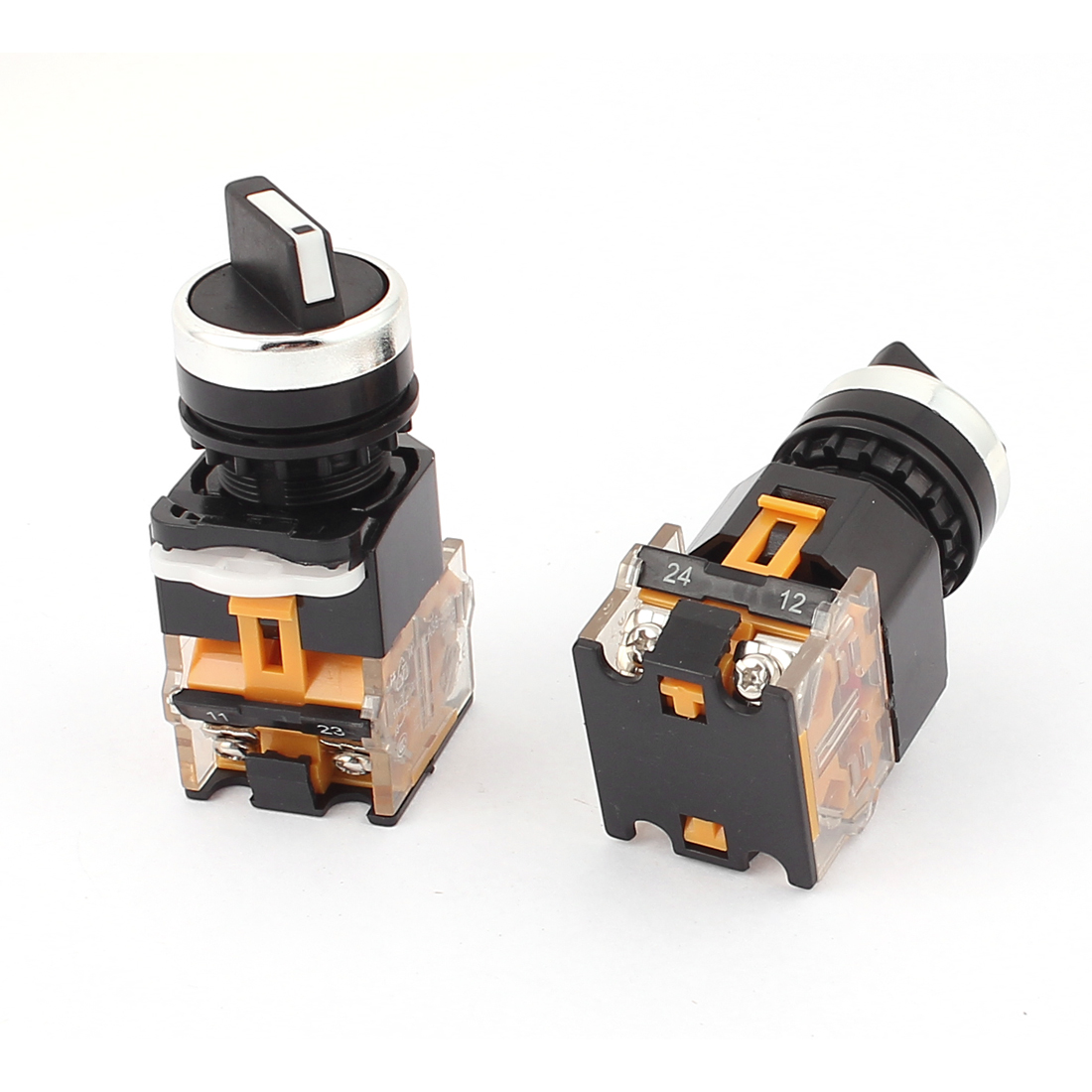 2pcs 660V 10A 2 Position 22mm Panel Mounting DPST Latching Rotary Selector Switch