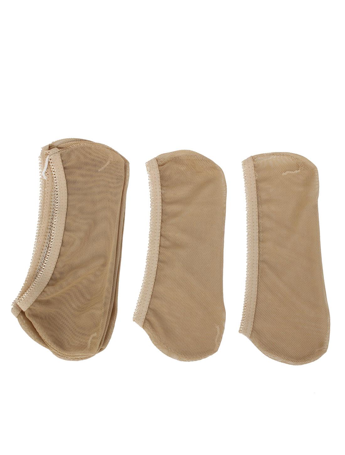 Lady Low Cut Heels Boat Socks Beige 3Pairs
