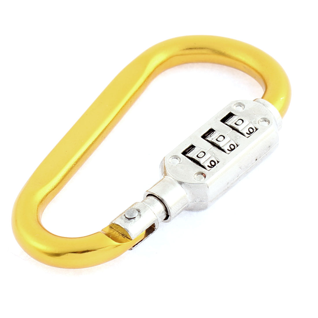 Resettable Combination Number 3 Digit Padlock Carabiners Hook