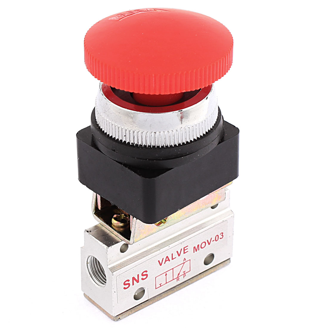 MOV-03A Self Locking Red Button 2 Position 3 Way Air Mechanical Valve
