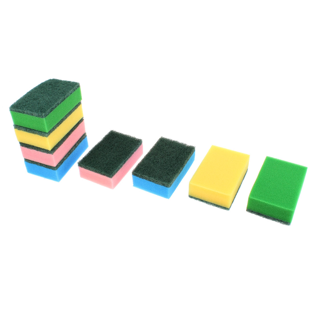Rectangle Shaped Bowl Dish Wash Sponge Cleaning Pad 8 Pcs