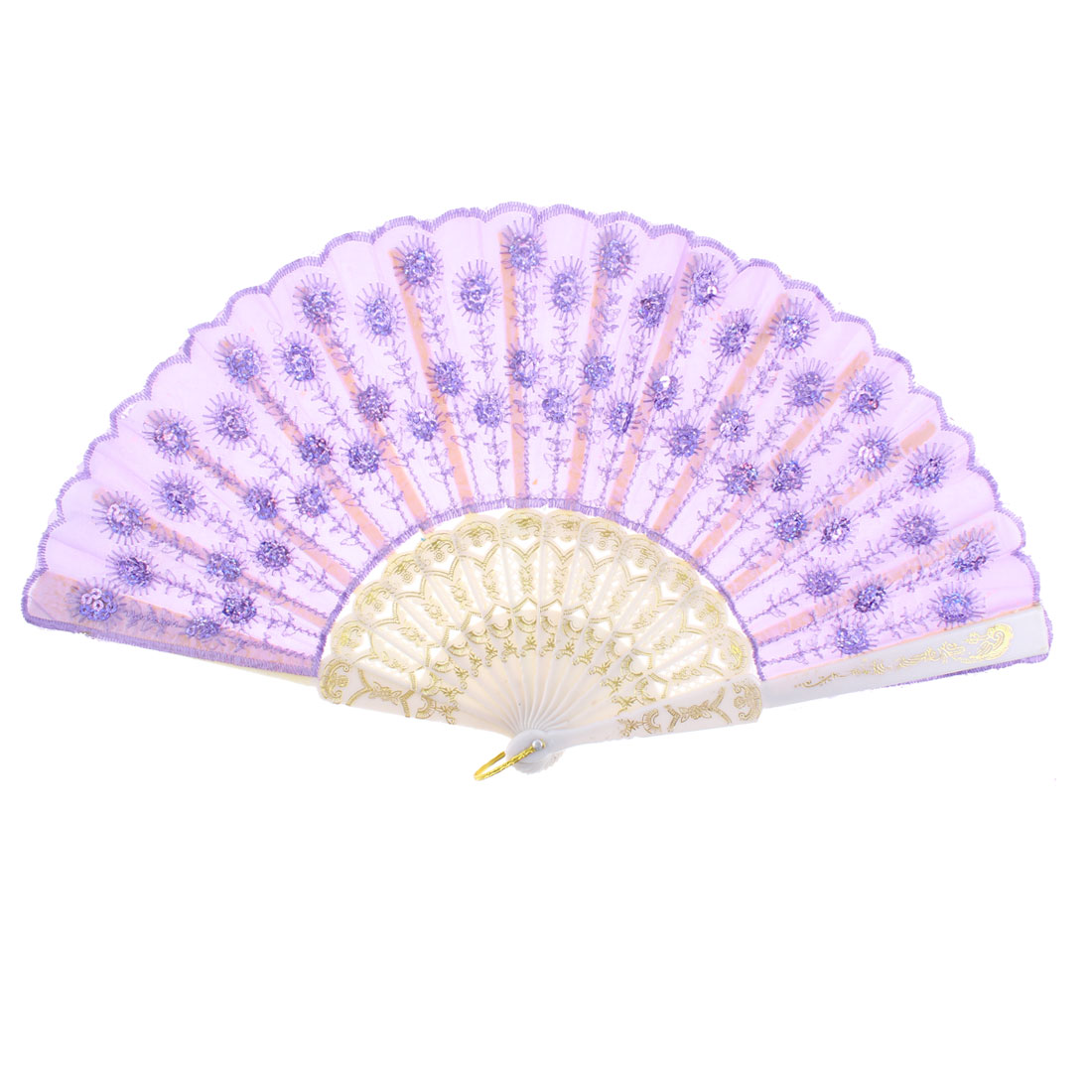 Floral Pattern Dancing Wedding Party Folding Hand Fan Purple for Lady