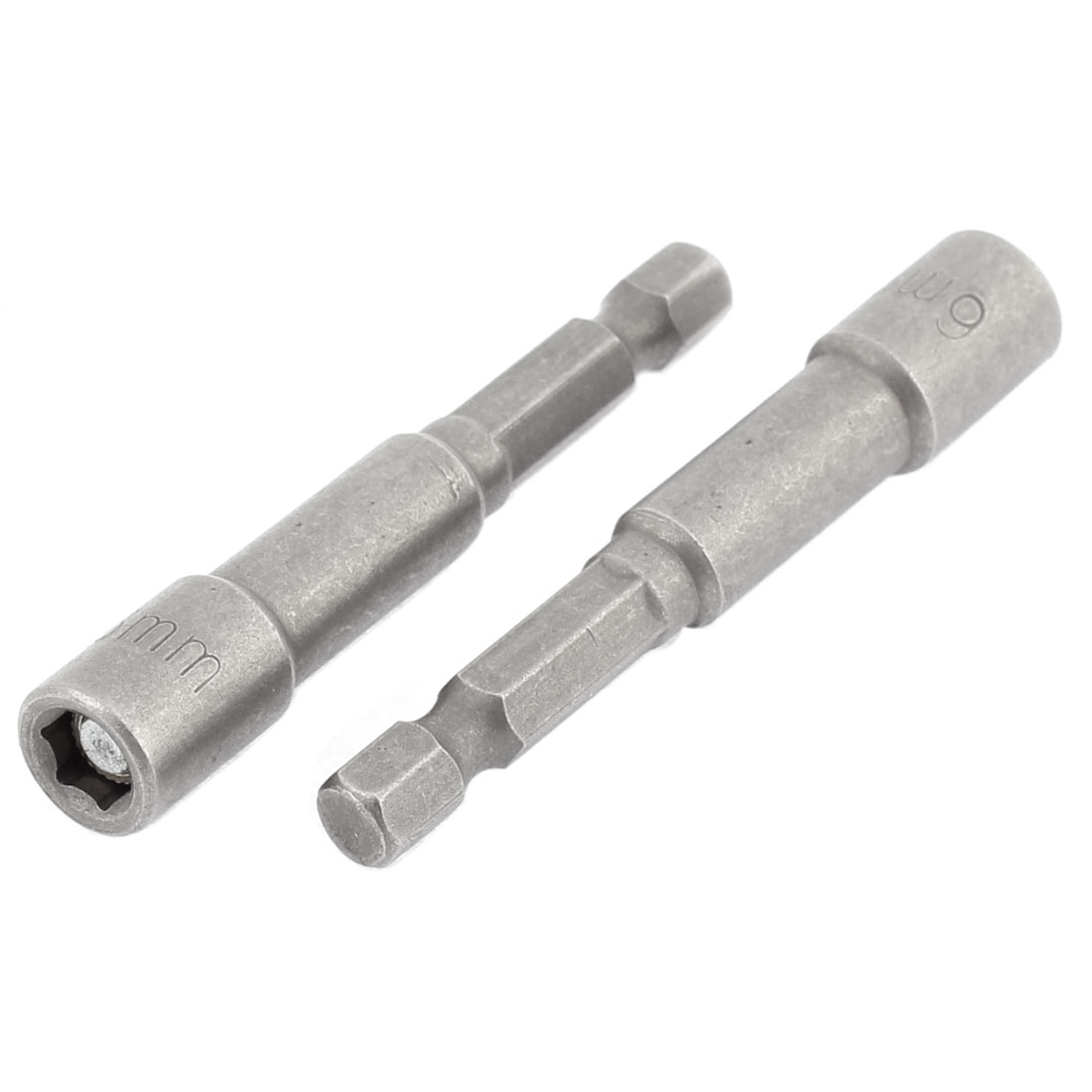 2 Pcs Gray 6mm Magnetic Hex Socket Impact Nut Setter Driver Bit Adapter