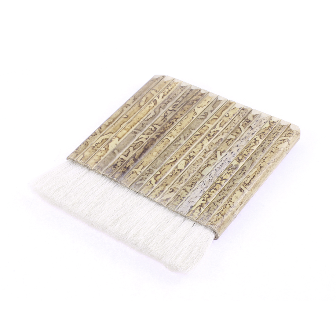 "White Faux Fur Hair Flat Bamboo Handle Paint Painting Brush 5.5"" Length"