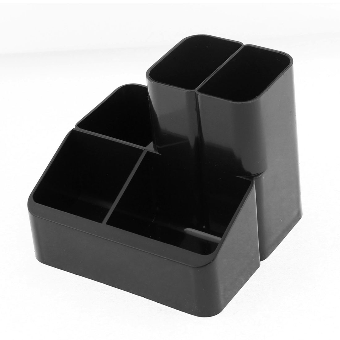 Multifunction Plastic 5 Slots Pen Pencil Holder Organizer Box Case Black