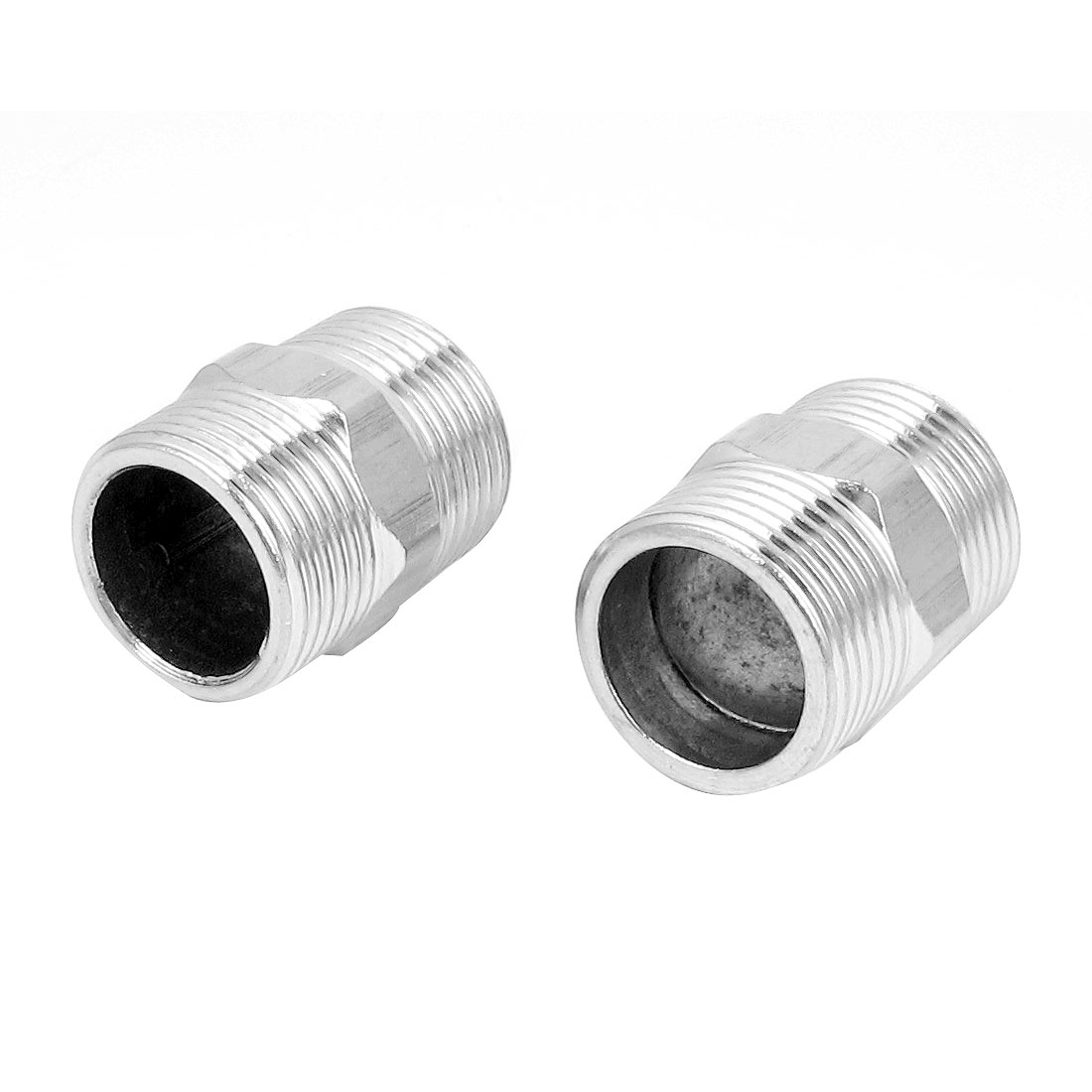 1BSP Male to Male Threaded 304 Stainless Steel Hex Nipple Pipe Fitting Connector 2pcs