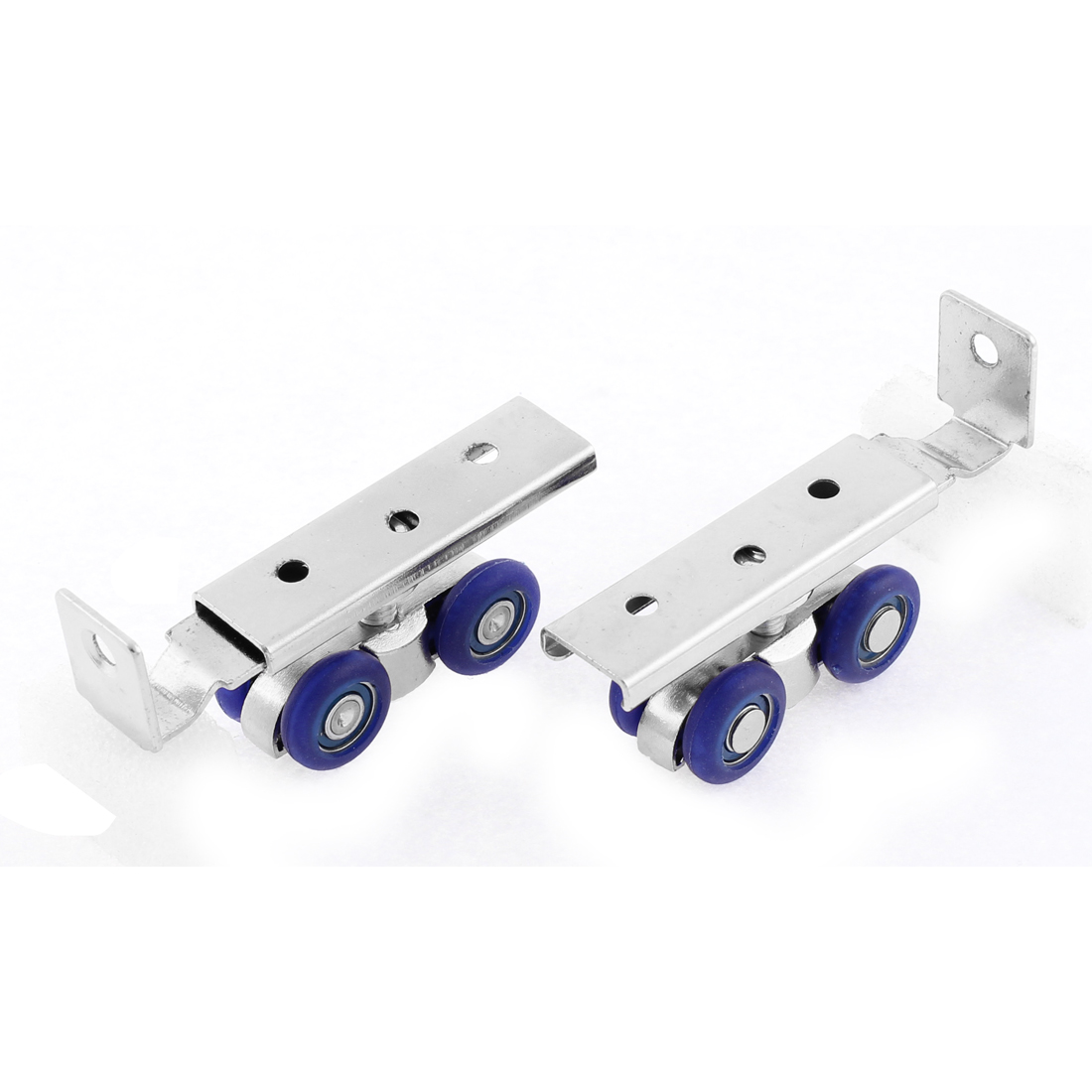 Plastic 4 Wheels Sliding Door Window Pulley Hardware Hanger Roller Blue 2 Pcs