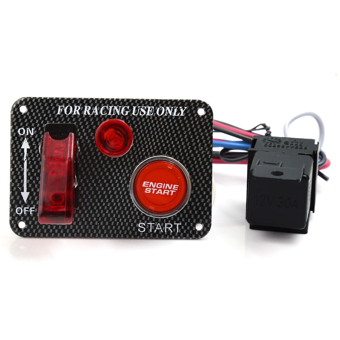 Universal DC 12V Racing Car Ignition Switch Panel Engine Start Push Button Red LED Toggle
