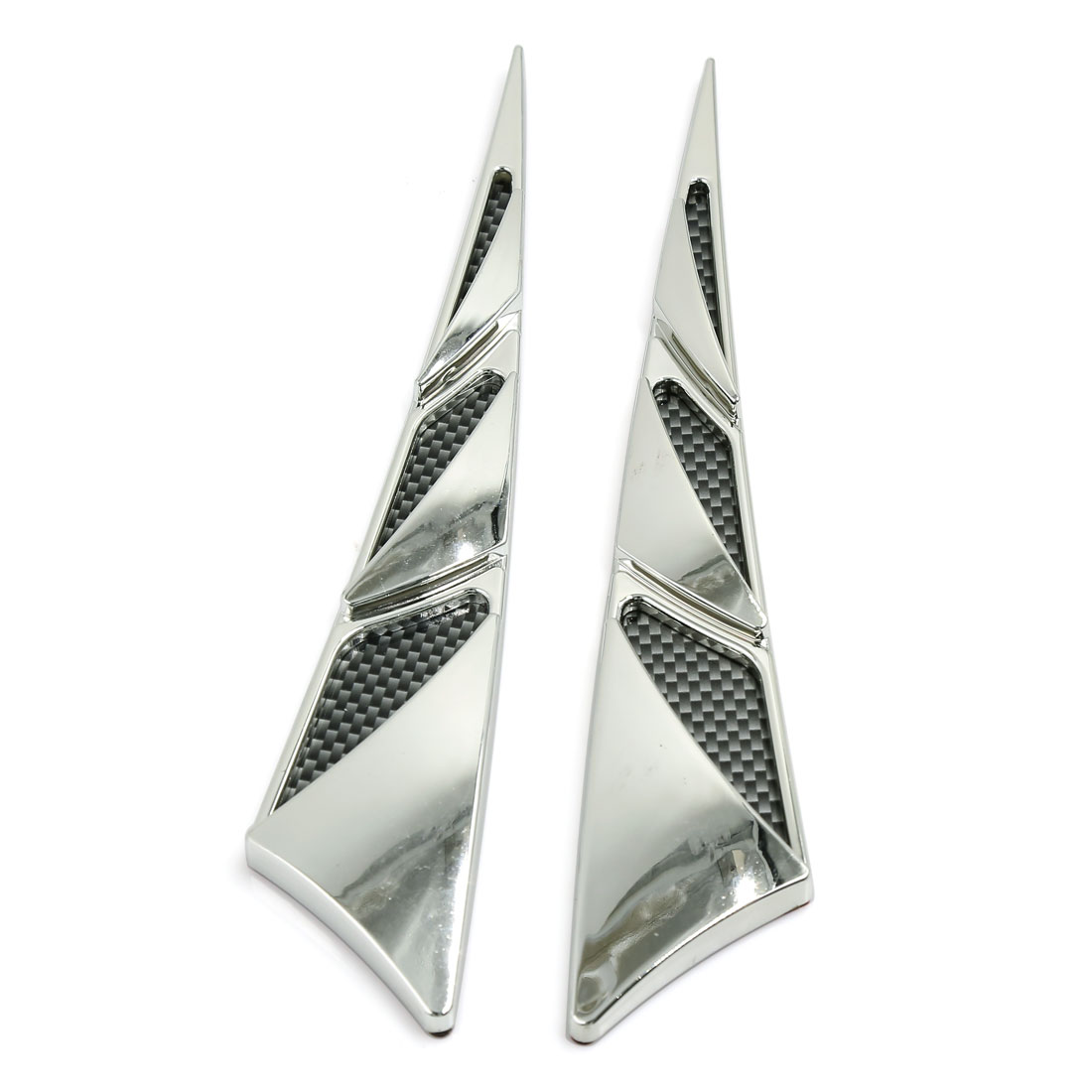 2pcs Carbon Fiber Pattern Triangle Shape Car Air Flow Vent Fender Sticker