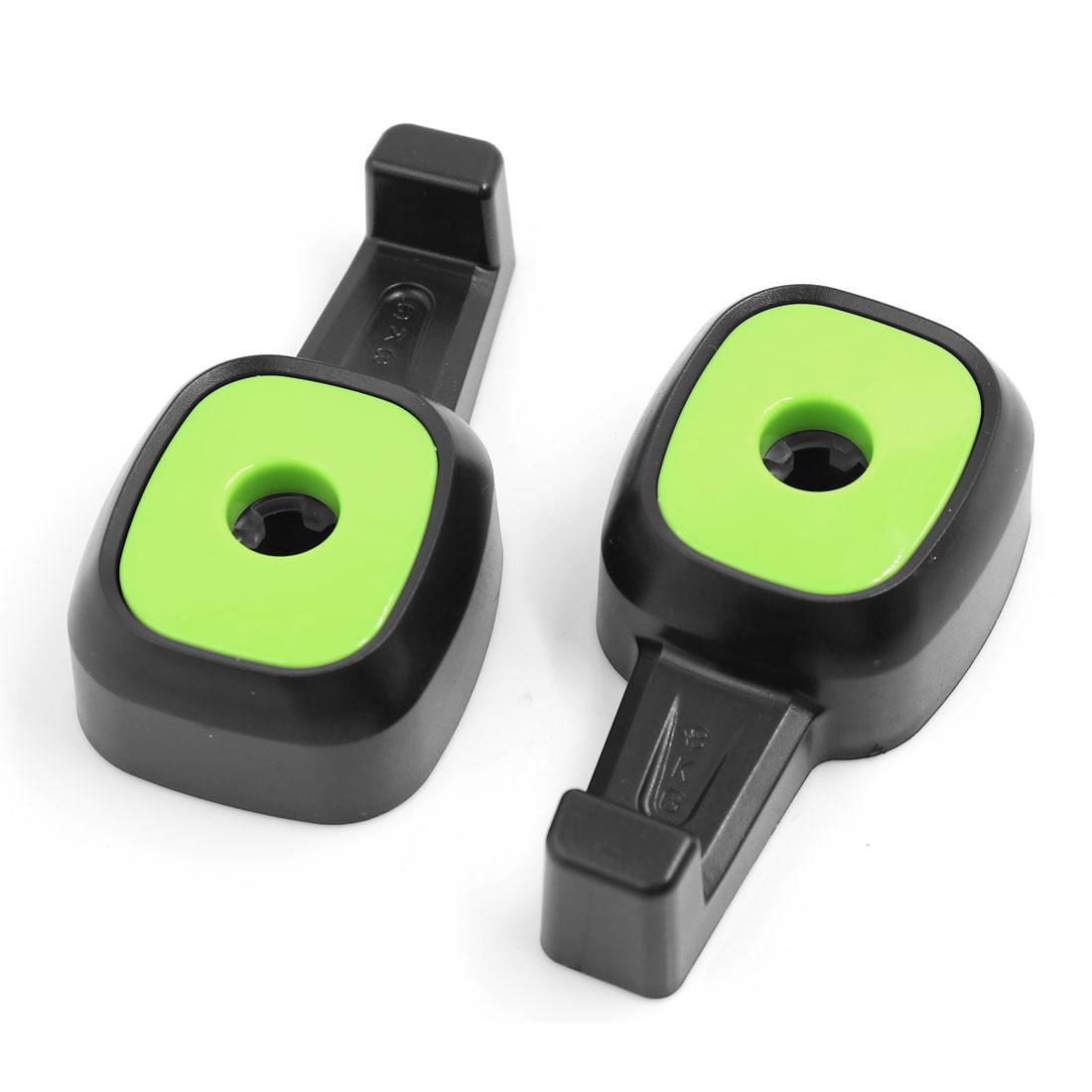 Car SUV Seat Headrest Hanger Holder Purse Bag Hook Organizer Black Green 2 Pcs