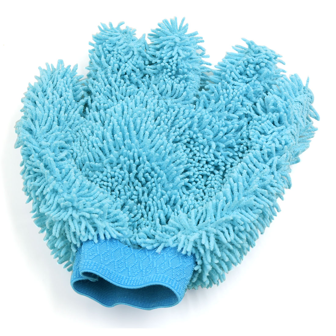 Sky Blue Five Fingers Shape Microfiber Car Home Washing Cleaning Glove Cleaner