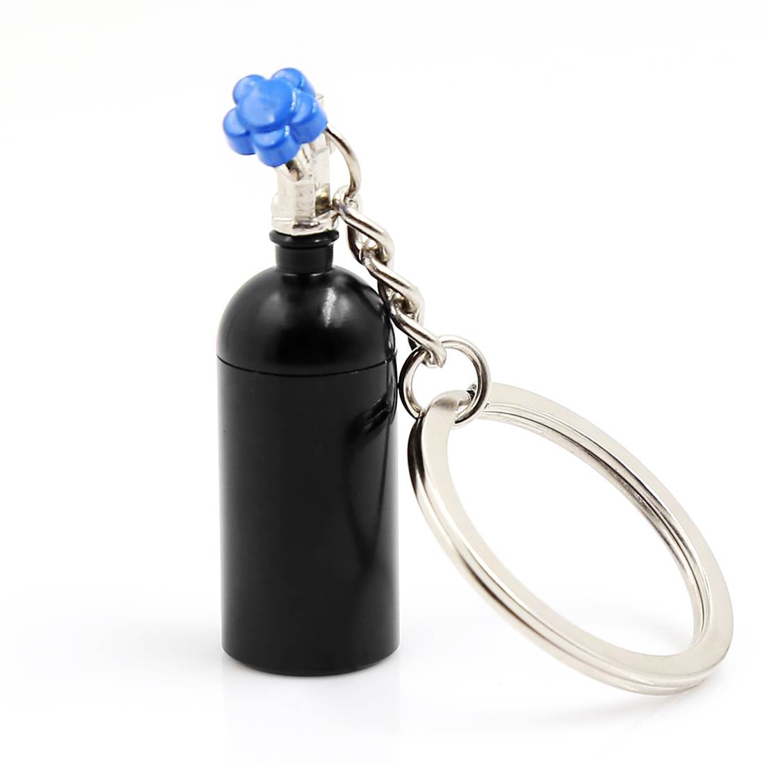 Black Metal Turbocharged Bottle Shape Dangling Pendant Split Key Chain Keyring