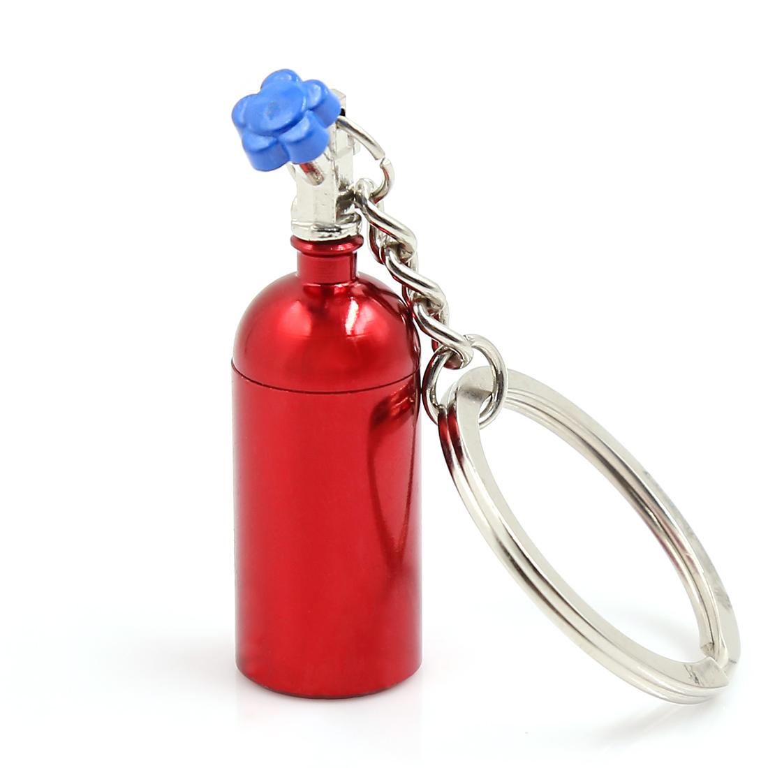 Metal Turbocharged Bottle Shape Dangling Pendant Keychain Keyring Decor Red
