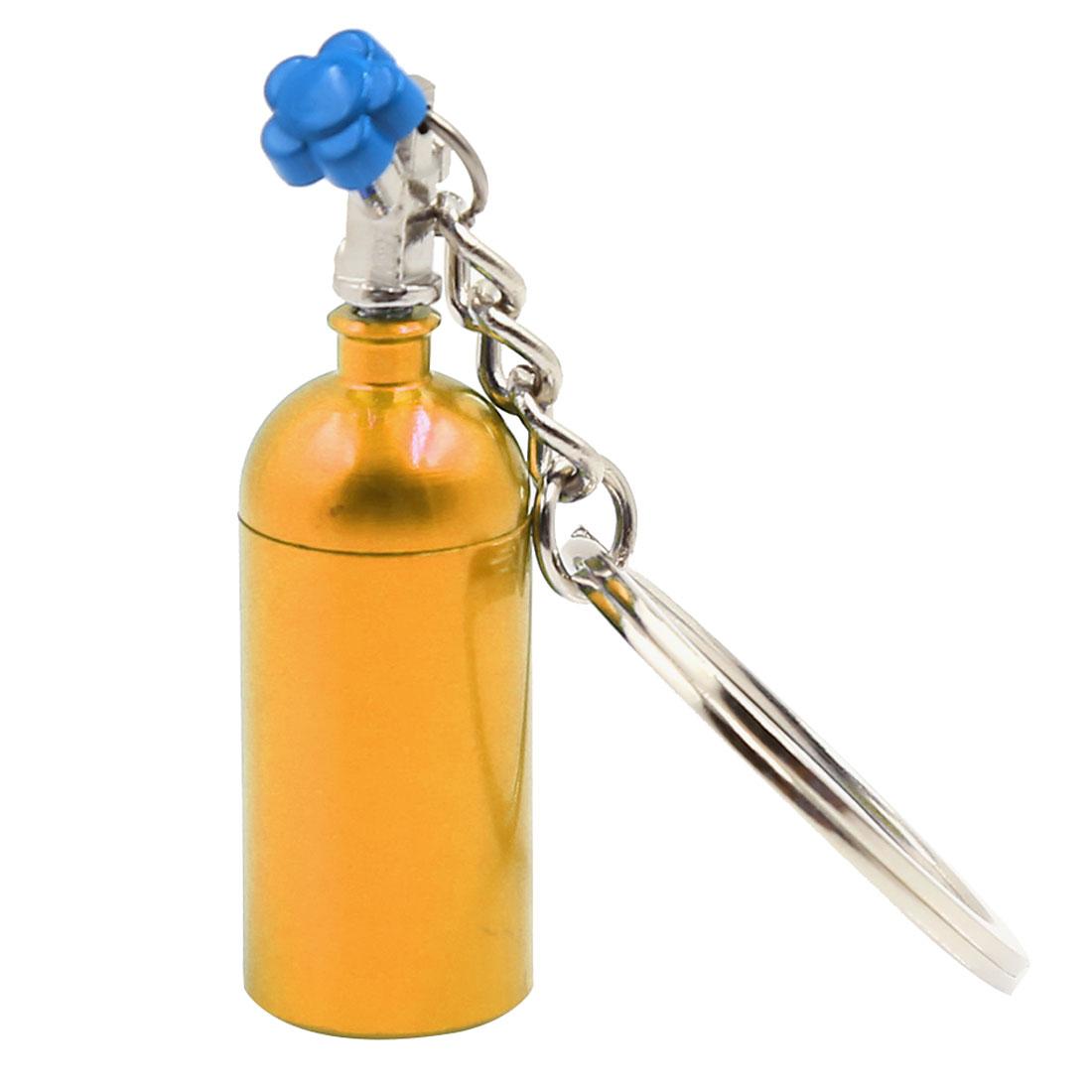 Turbocharged Bottle Pendant Split Ring Keyring Keychain Decoration Gold Tone