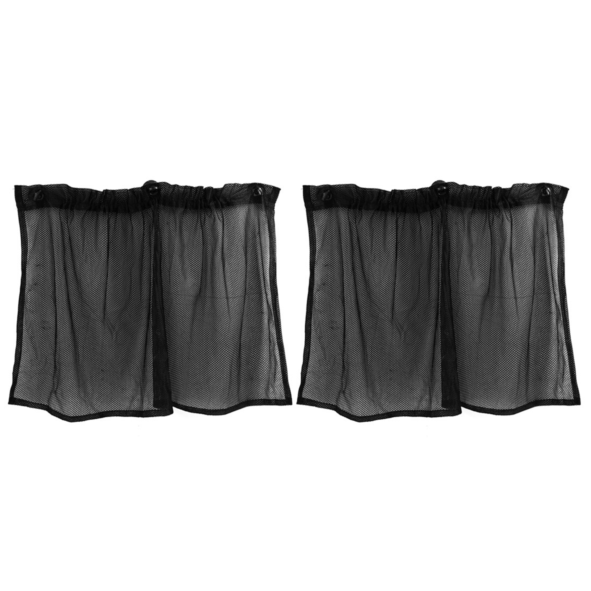 2 Pcs Black Nylon Auto Car Side Window Curtain Mesh Sun Shade 74.5cm x 39.5cm w Suction Cups