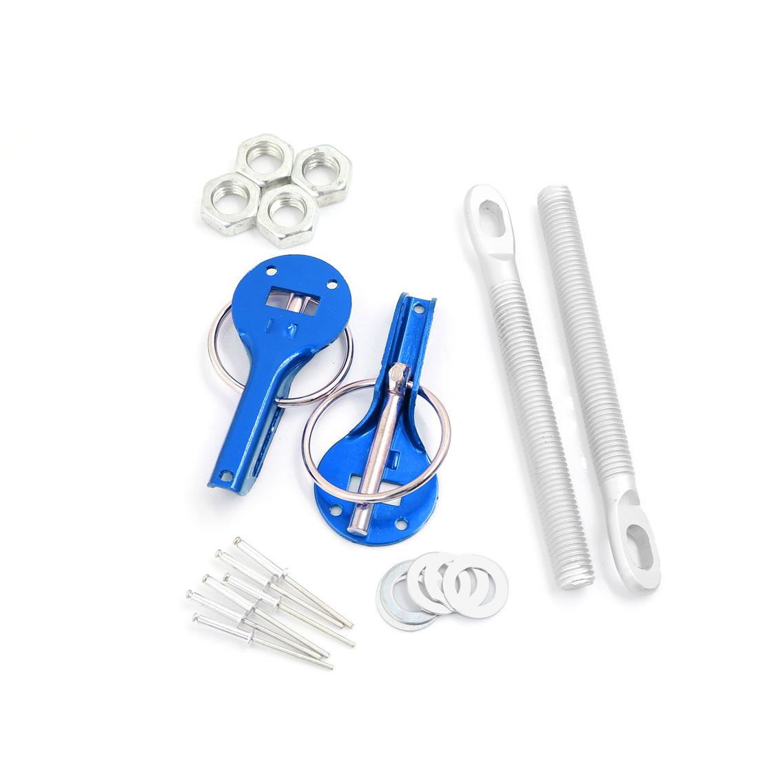 Universal Blue Aluminum Alloy Bonnet Hood Pin Lock Locking Kit for Racing Car