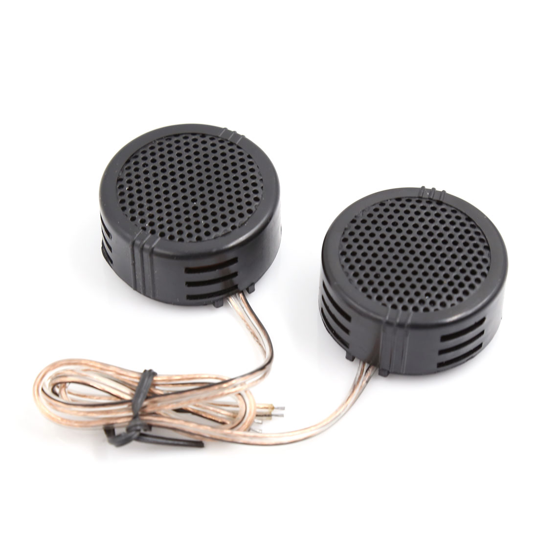2 Pcs Black Round Plastic Dome Tweeters Speakers w Crossovers