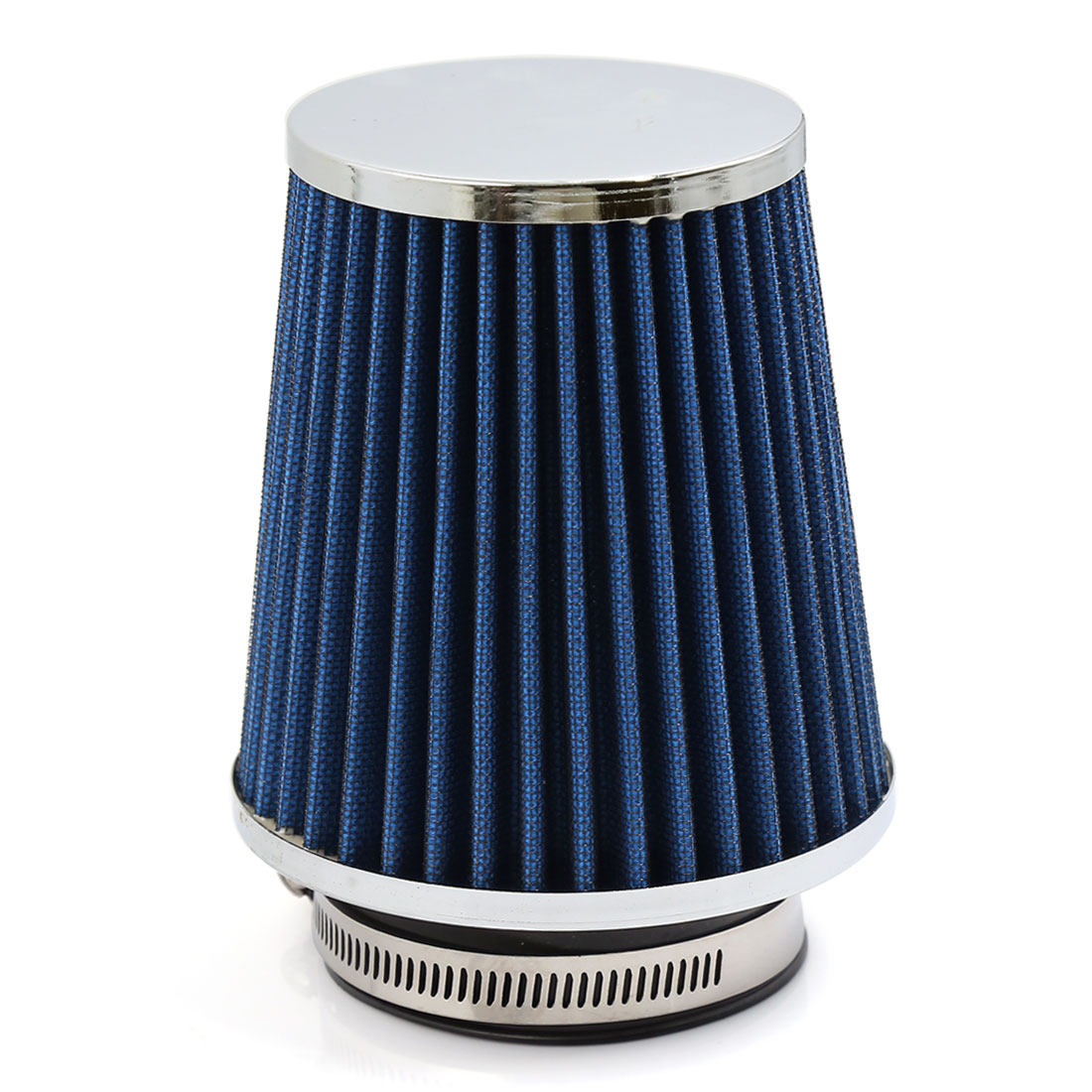 Universal 75mm Hole Dia Cond Shape Car High Flow Cold Air Intake Filter Cleaner Blue