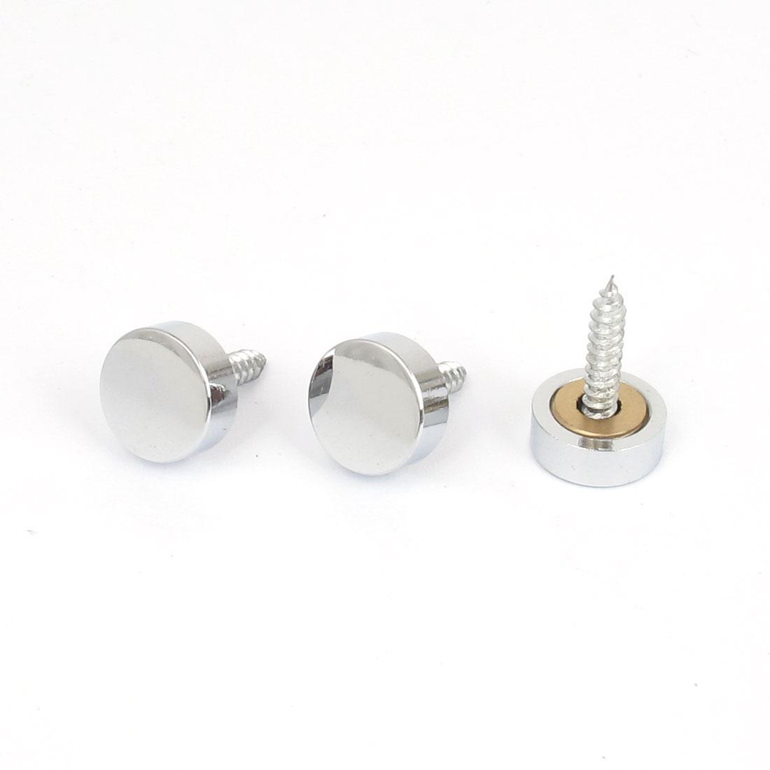 14mm x 5mm Glass Tea Table Decorative Metal Mirror Screw Nails Silver Tone 3pcs