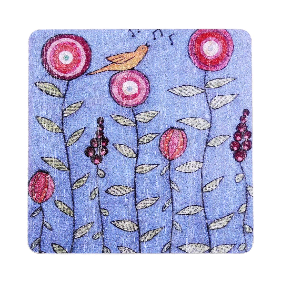 Flowers Bird Pattern Wooden Coaster Teacup Mat Water Glass Beverage Pad Holder