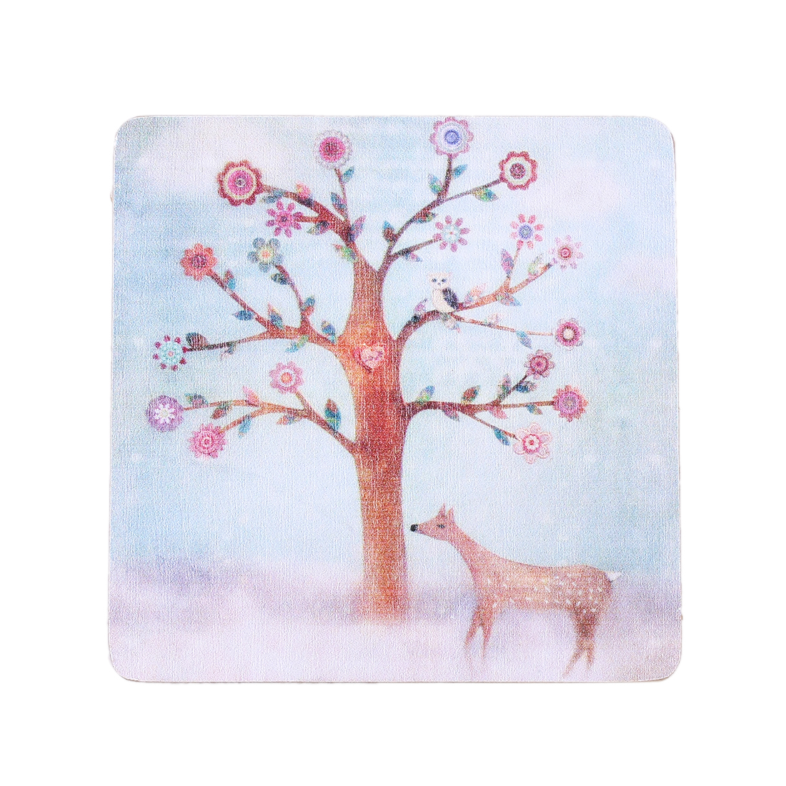 Tree Animal Pattern Heat Resistant Wood Coaster Teacup Mat Water Glass Pad