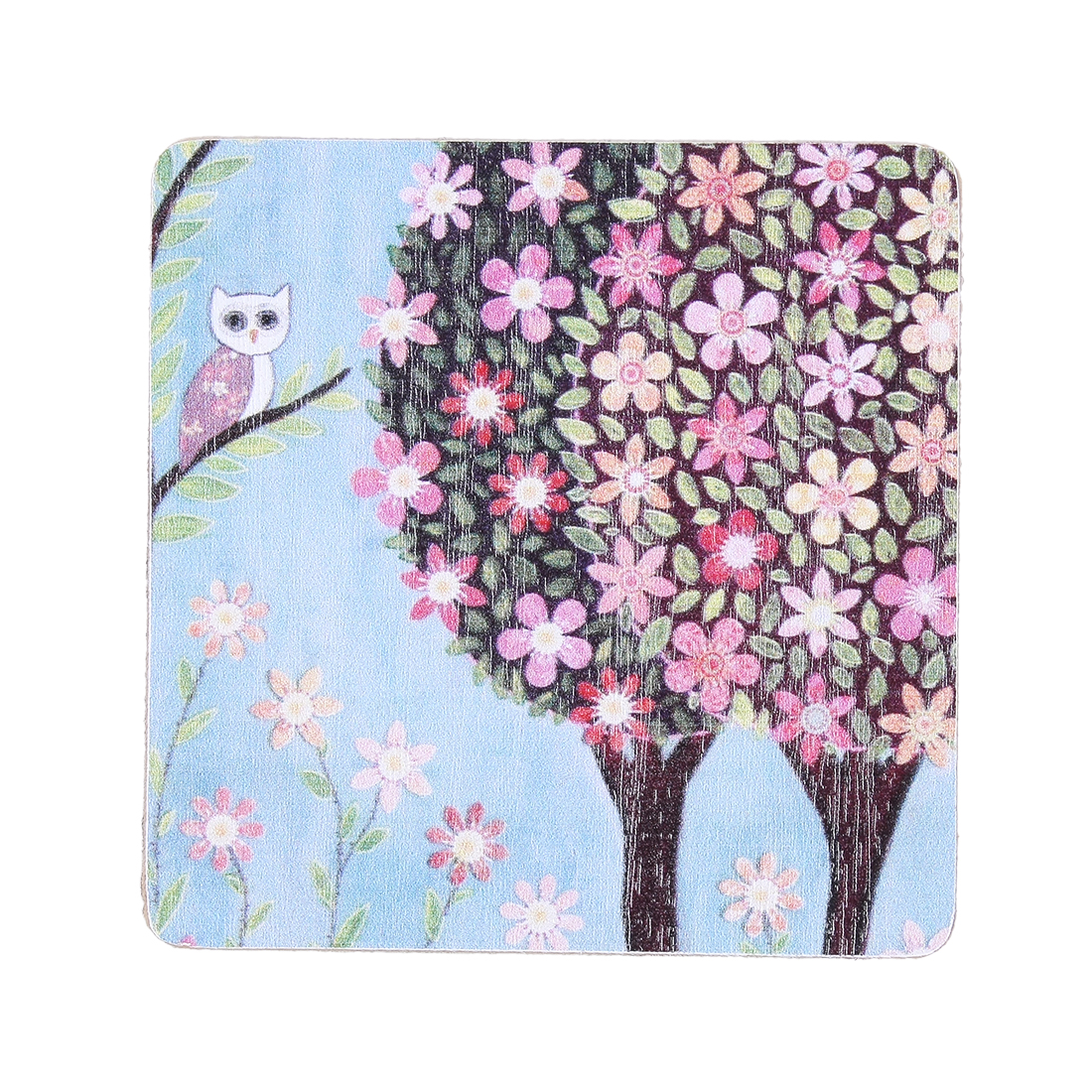 Tree Flower Owl Print Wooden Coaster Square Mat Table Bar Drinks Holder 9 x 9cm