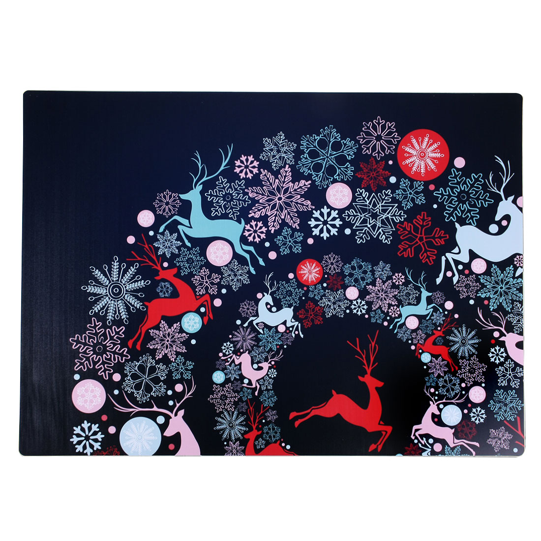 Colorful Snowflakes Deer Print Heat Resistant Dining Table Mat Placemat Cup Pad