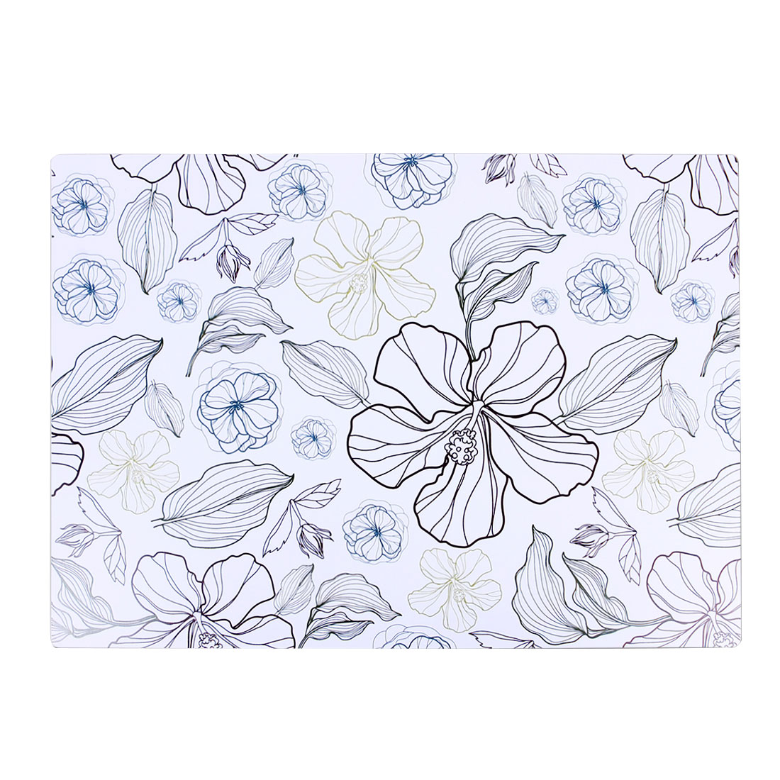 Dining Table Leaves Floral Print PVC Rectangle Placemat Desk Mat Cup Coaster