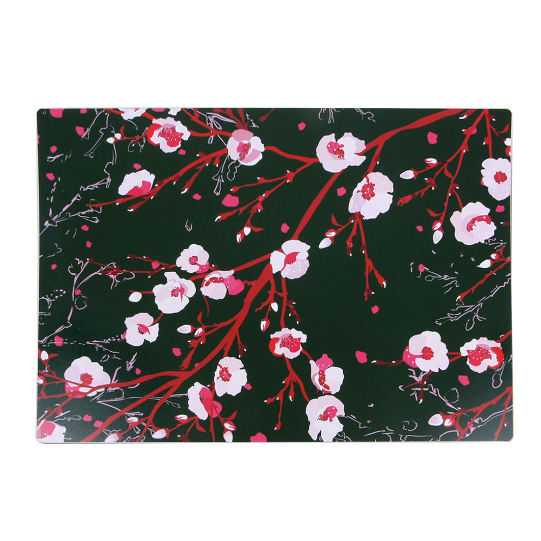 Red Flowers Pattern PVC Rectangle Placemat Table Mat Dinner Dish Pad Cushion