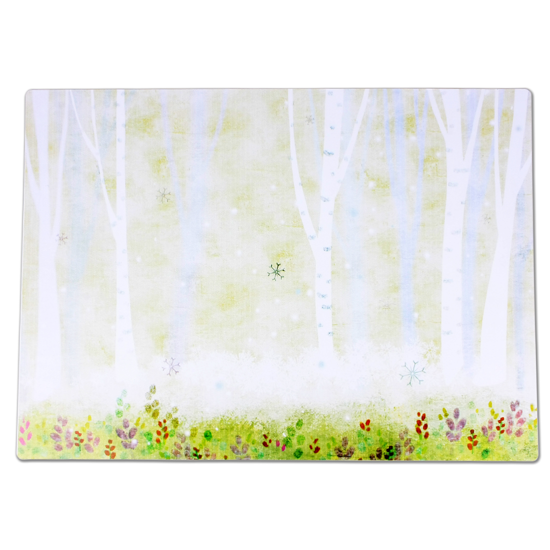 Pale Green Flowers Tree Print Heat Resistant Western Restaurant Placemat