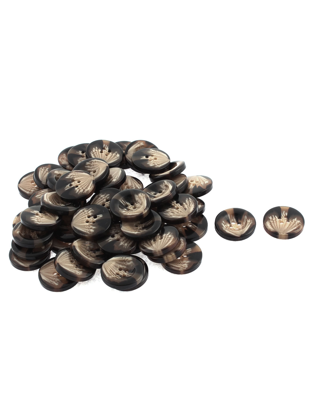 50pcs Round Sewing Buttons 25mm Dia Coffee Color for Coat Jacket