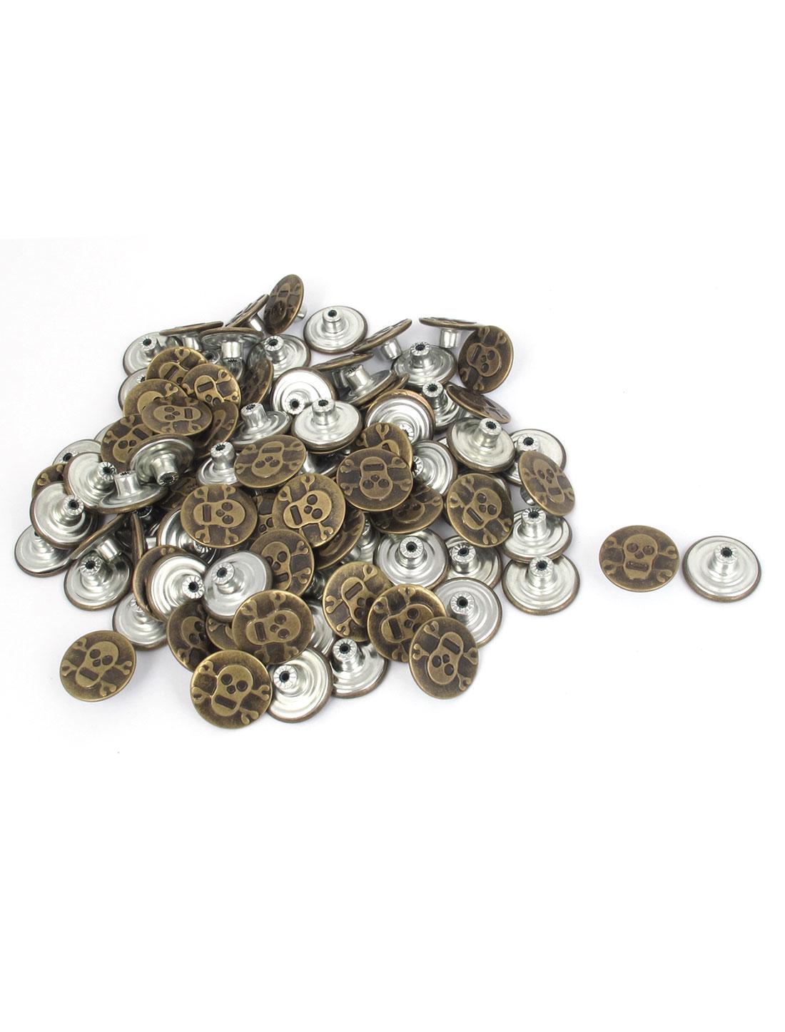 20mm Dia Metallic Round Jeans I-Button Bronze Tone 100pcs
