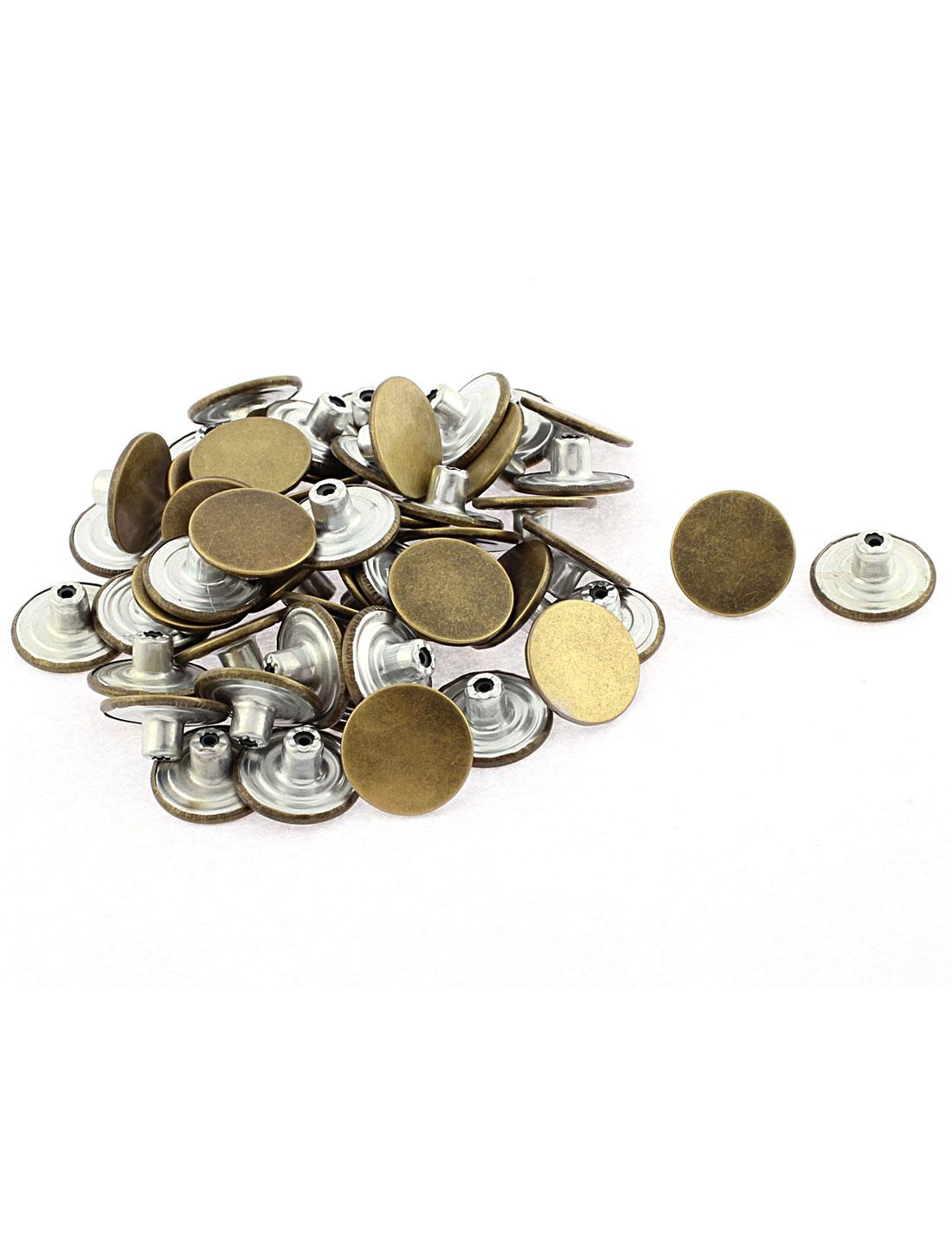 50 Pcs Denim Jacket Jeans Trousers Sew Tack Buttons 2cm Dia Bronze Tone
