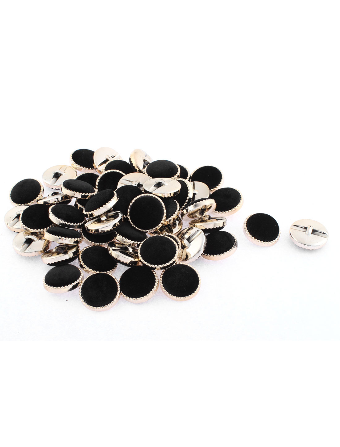 50 Pcs Flannel Round Sewing Buttons 3cm Dia Black for Clothing Coat