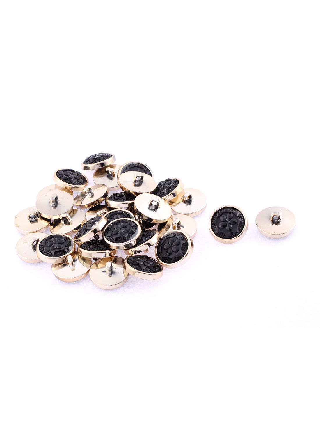 30 Pcs Round Floral Pattern Sewing Buttons 25mm Dia Black for Clothes Coat Jacket