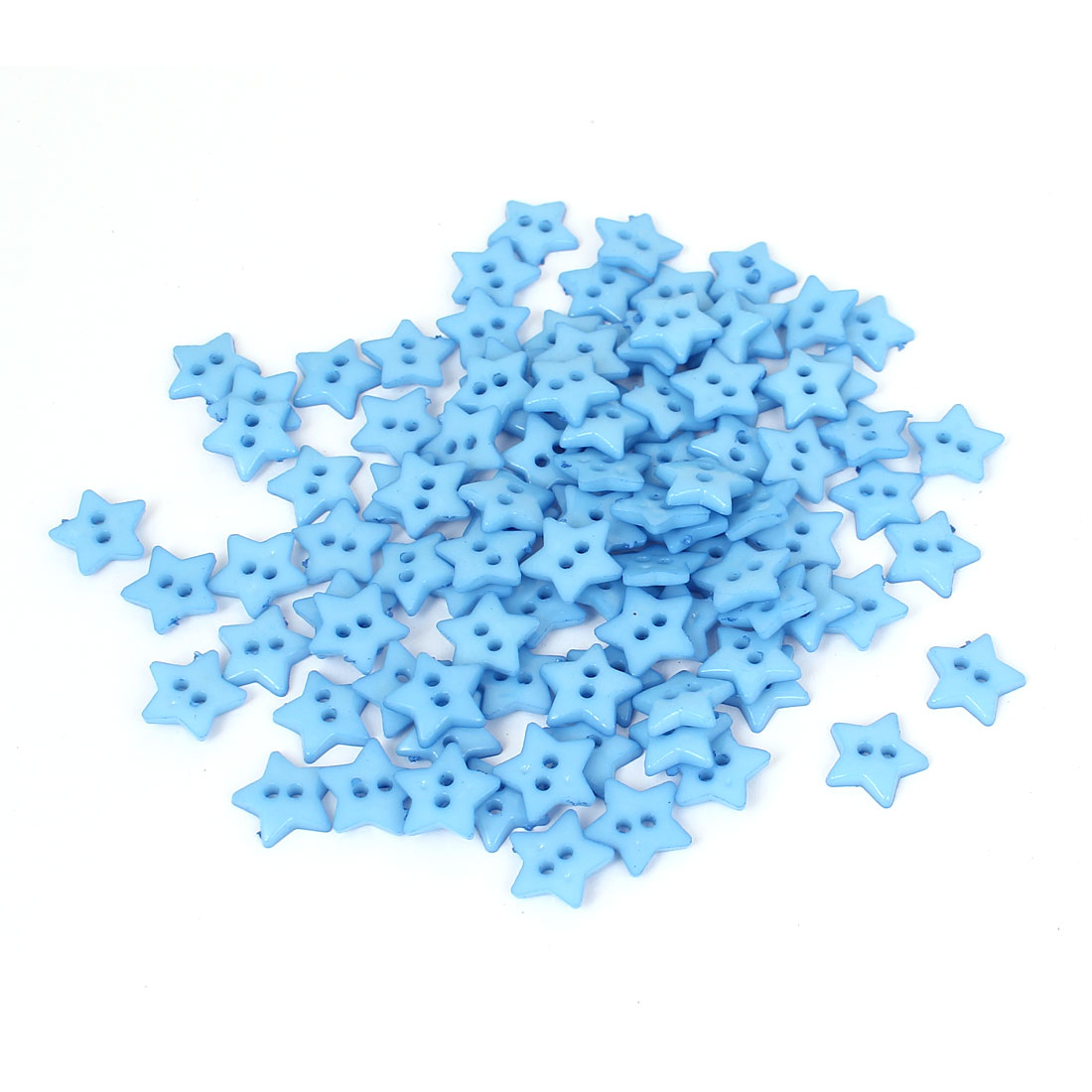 13mm Width 2 Hole Plastic Star Shape Sewing Clothing Clothes Button Blue 100pcs