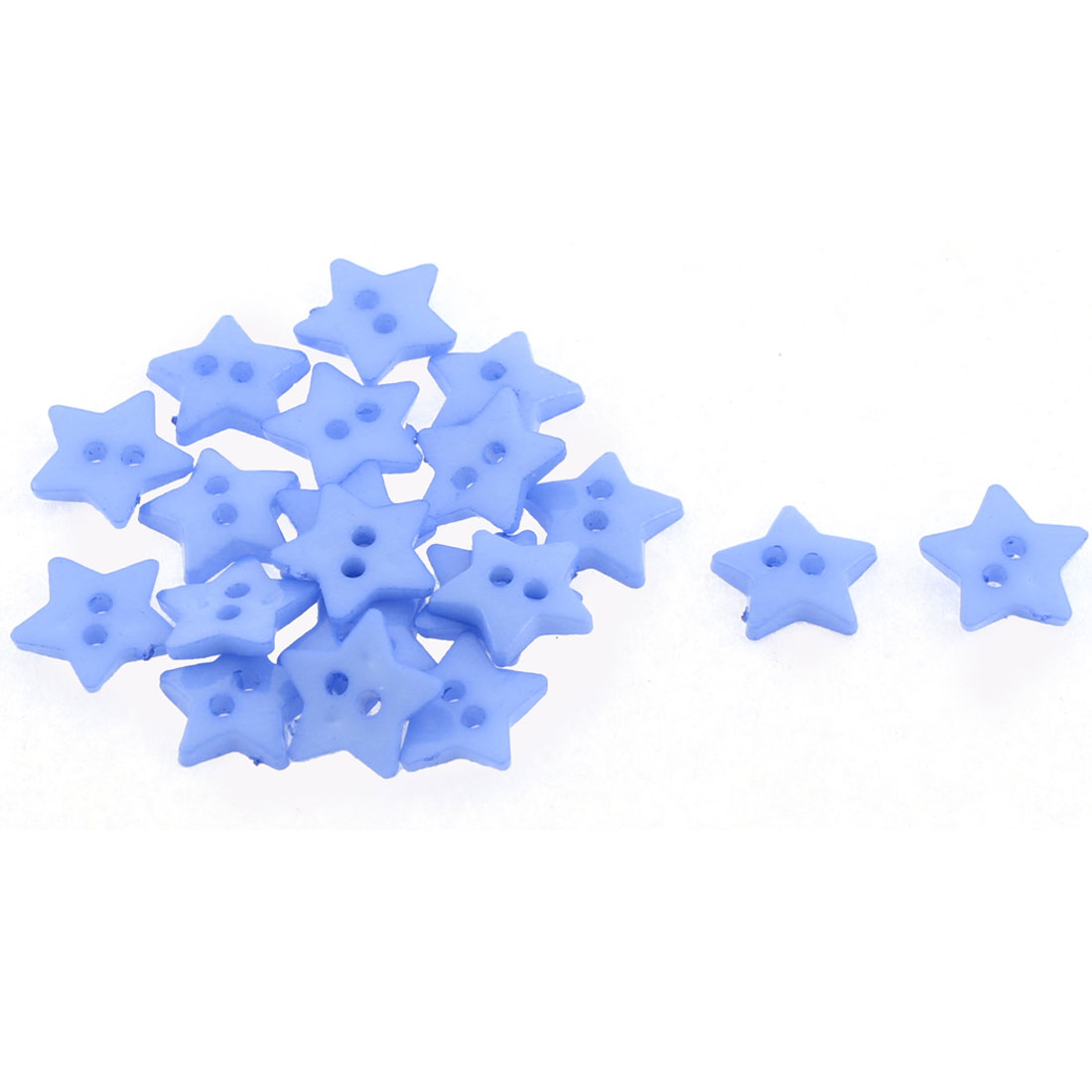 Five-point Star Design 2 Hole Clothes Sewing Button Blue 20pcs