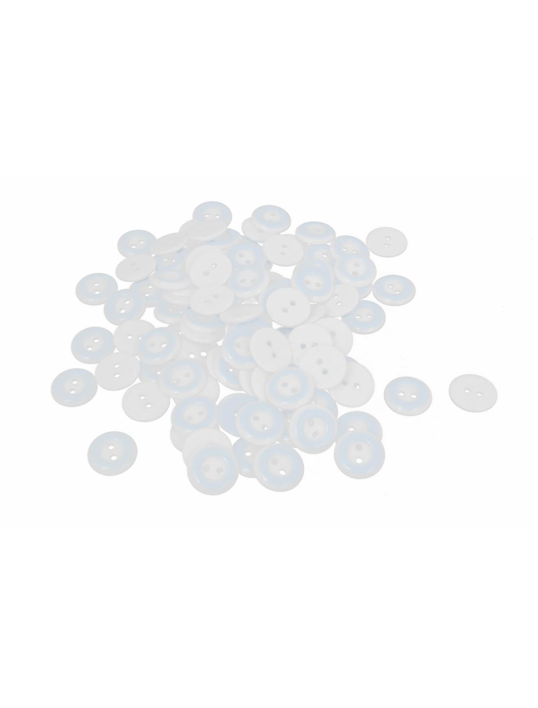 13mm Dia Plastic Round 2-Hole Babe Clothing Clothes Button Blue White 100pcs