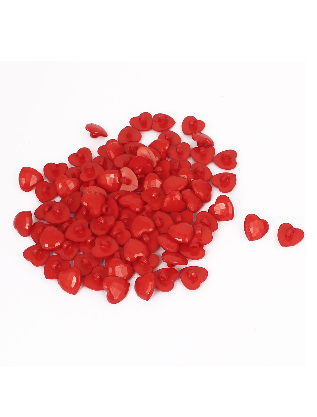 14mm Width 1 Hole Plastic Heart Shape Clothing Button Fastener Red 100pcs