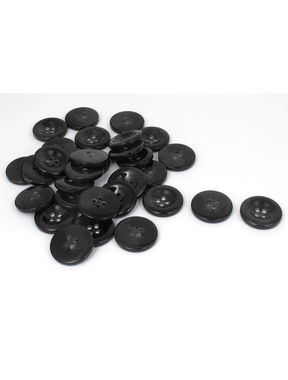 34mm Dia 4 Hole Resin Round Windbreaker Clothing Fastener Button Black 30pcs