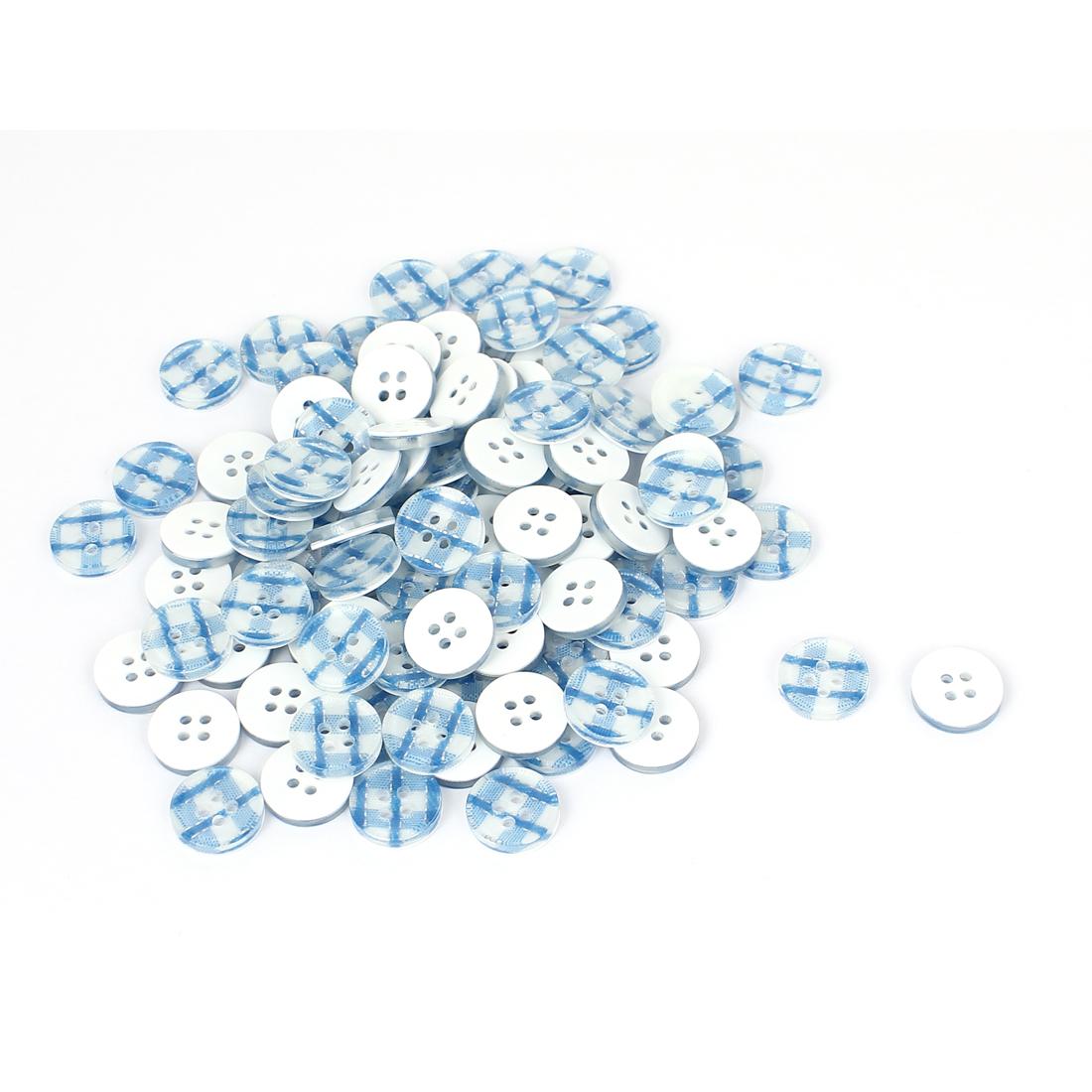 13mm Dia Plastic Round 4-Hole Plaid Shirt Clothes Button Blue White 100pcs