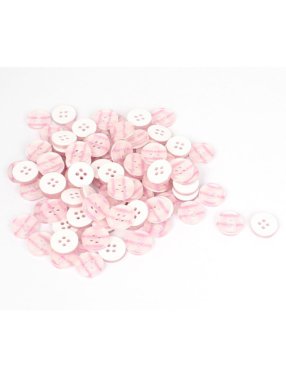 13mm Dia Plastic Round 4-Hole Plaid Shirt Clothes Button Pink White 100pcs