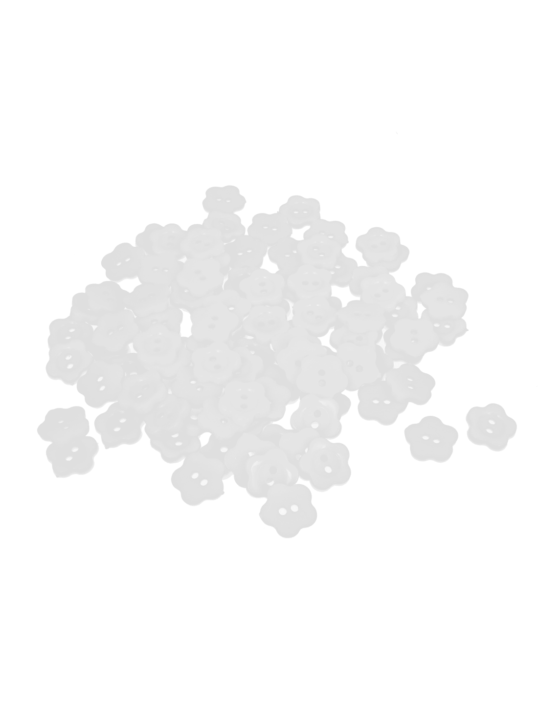 13mm Width 2 Hole Plastic Fleur Shape Sewing Clothing Clothes Button White 100pcs