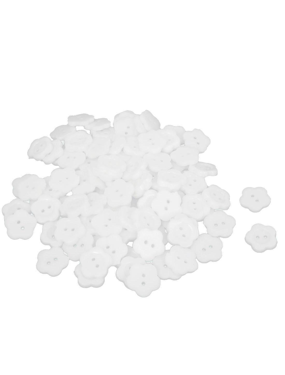 15mm Width 2 Hole Plastic Fleur Shape Sewing Clothes Button White 100pcs