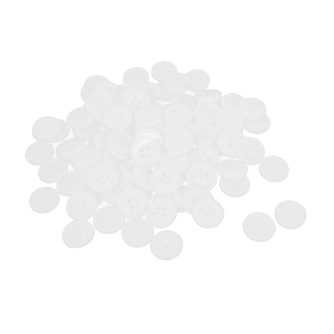 15mm Dia Nylon Round 4-Hole Sewing Clothing Clothes Shirt Button White 100pcs