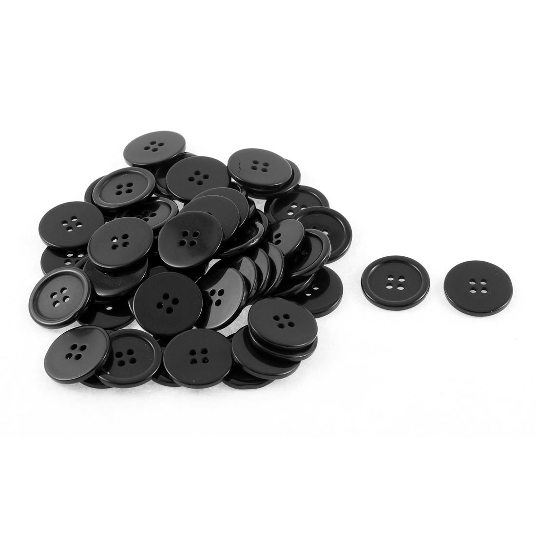 Plastic Round Shape Clothes Sewing Button 23mm Dia Black 50Pcs